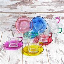 12 Parça Carre Çay Seti - 6 Renk Tam Boyalı