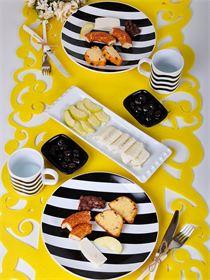 7 Parça 2 Kişilik Alfa Black& White Kahvaltı Seti