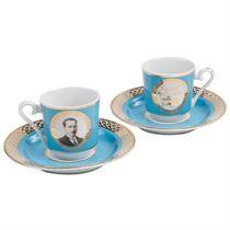 Kütahya Porselen Atatürk Turkuaz Kahve Fincan Takı