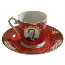 Kütahya Porselen Atatürk Kırmızı Kahve Fincan Takı