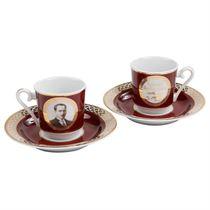 Kütahya Porselen Atatürk Bordo Kahve Fincan Takımı